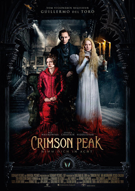 Crimson Peak mit (Mia Wasikowska, Tom Hiddleston und Jessica Chastain)